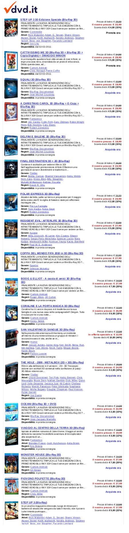 lista dei titoli in bluray 3d