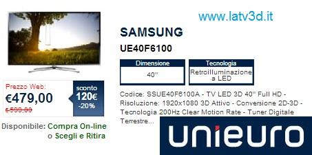 Samsung UE40F6100 in offerta