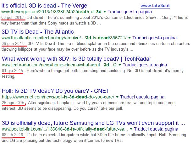la tv 3d è morta