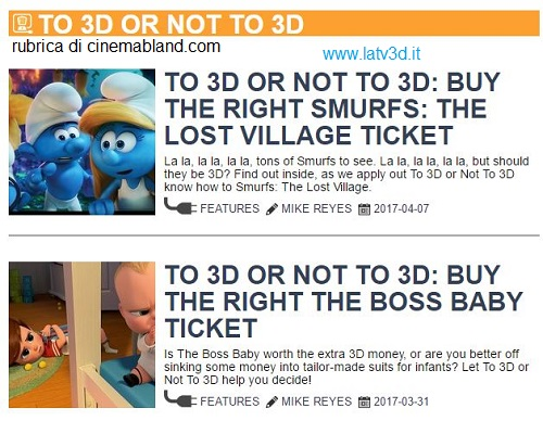 Cinema in 3D o non in 3D